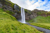 waterfall Seljalandsfoss in summer, Iceland