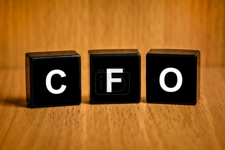 CFO or Chief financial officer word on black block