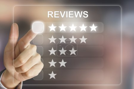 business hand pushing reviews on virtual screen