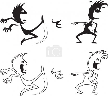 Illustration for Cartoon of a woman laughing at a Man slipping on a banana peel . Black silhouettes and white with black outlines to make color of choice. Vector and high resolution jpeg files available. - Royalty Free Image