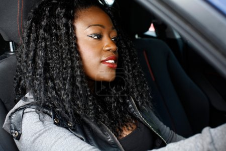 Cool Young Black Woman Inside Car