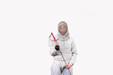 Photo for Girl in a fencing costume with a sword in hand isolated on white studio background. Young girls practice and exercise. Sports, healthy lifestyle. - Royalty Free Image