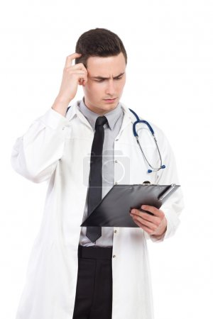 Thinking doctor scratching head