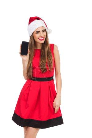 Santa girl presenting a mobile phone