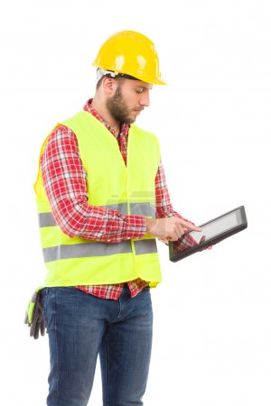 Engineer using a shockproof digital tablet