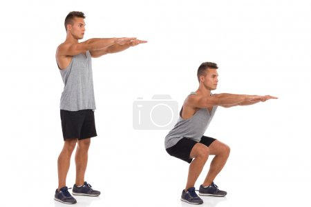 Photo for Muscular man showing a squat exercise, side view, step by step.  Full length studio shot isolated on white. - Royalty Free Image