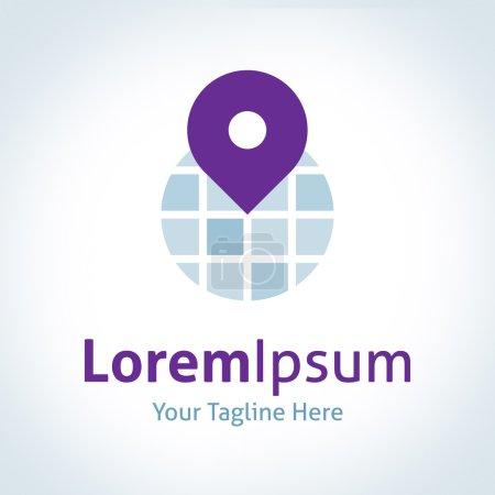 World globe map positioning pin app vector logo icon