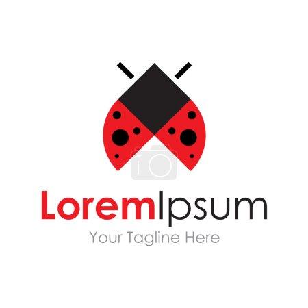 Beautiful red ladybug flight icon simple elements logo