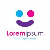 Colorful happy face graphic design logo icon