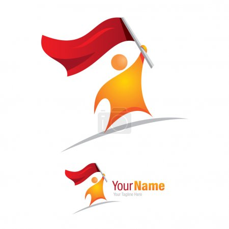 Man with flag conqueror graphic design logo icon