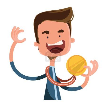 Gold medal joy winner vector illustration cartoon character