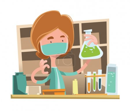 Illustration for Doctor working at laboratory vector illustration cartoon character - Royalty Free Image