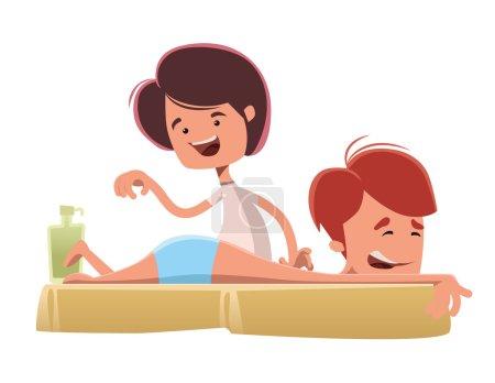 Illustration for Man enjoying a massage treatmant vector illustration cartoon character - Royalty Free Image