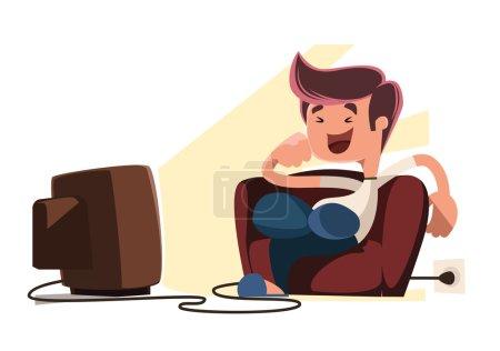 Man watching television vector illustration cartoon character
