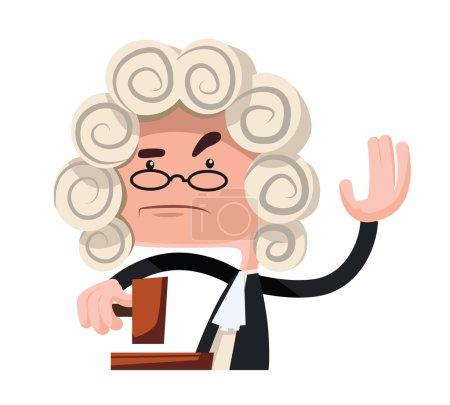 Illustration pour Juge rendant un verdict vectoriel illustration personnage de bande dessinée - image libre de droit