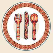 Talíř, lžíce, nůž a vidlička
