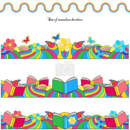 Illustration pour Ensemble de bordures sans couture avec des fleurs, des livres et des vagues colorées - image libre de droit