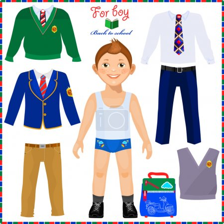 Paper doll with a set of clothes. Cute boy student. Template for