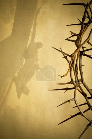 Foto de Easter photo background illustration with Crown of Thorns on Parchment Paper with Jesus Christ on the Cross faded into the background. - Imagen libre de derechos