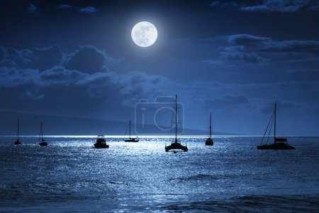 This dramatic photo illustration of a nighttime sky over a calm ocean scene in Maui, Hawaii with brightly lit clouds, a large, full, Blue Moon, calm waves, and sparkling reflections would make a great background for many travel or vacation uses
