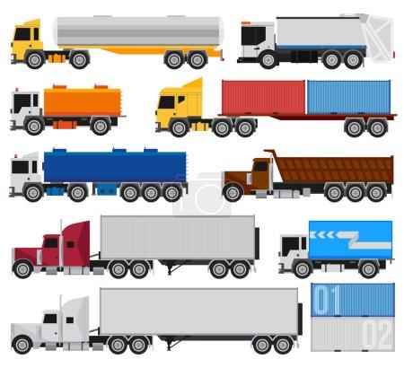 Illustration pour Camions et remorques sur fond blanc. Livraison et expédition de camions de fret et semi-camions. Pour infographie ou design - image libre de droit