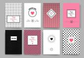 Set of Trendy Abstract Cards with Mystic Logos Modern Hipster Style for Invitation Business Contemporary Design Elements Placards Flyer