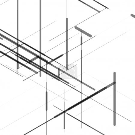 Abstract isometric computer generated 3D blueprint visualization lines background. Vector illustration for break through in technology.