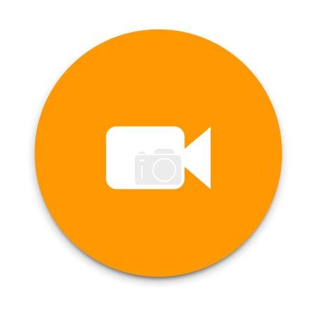 Illustration pour Icône caméra vidéo. icône plate sur coloré flottant ui bouton d'action . - image libre de droit