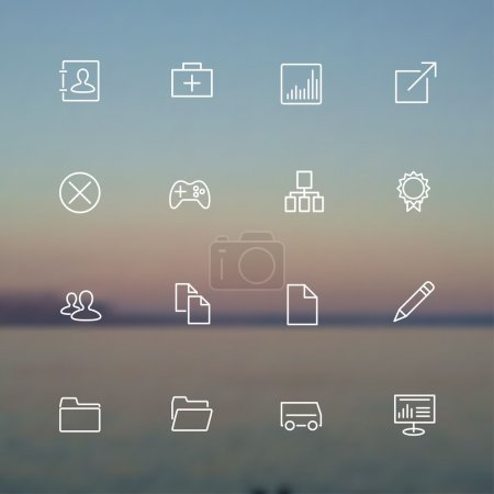 Vector collection of simple line modern icons for ...