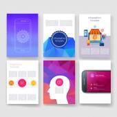 Vektorové brožura design šablony kolekce. Aplikace a Infographic koncepce. Leták, brožuru Design šablony sady. Moderní plochý design ikony pro mobile nebo smartphone