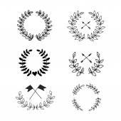 Swirls laurels frames leaves banners and curls Laurels Wedding templates set with floral ornate elements badges set