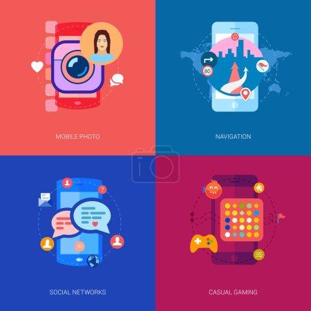 Illustration pour Ensemble d'icônes plates modernes sur le thème des applications mobiles : partage de photos mobiles et selfie, réseau social et chat, navigation par téléphone intelligent et cartes, jeux occasionnels - image libre de droit