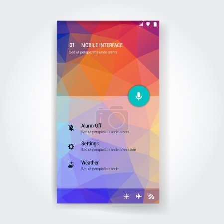 Modern user interface screen template for mobile smart phone or web site. Triangular colorful material design UI background with icons.