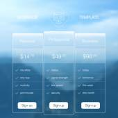 Modern user interface screen price list template for mobile smart phone or web site Transparent blurred material design UI with icons