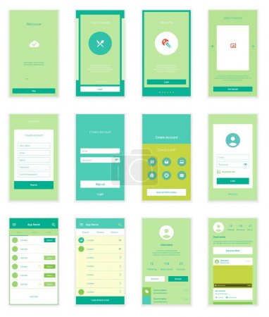 Mobile User Interface 35 Screens Wirefrme Kit for onboarding wizard, login, signup and dashboard list screens. Vector scalable retina UI.