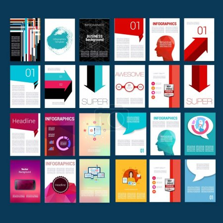 Mega Infographic Template Pack. Design Set of Web, Mail, Brochures. Mobile, Technology, Infographic Concept.