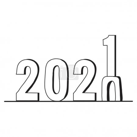 Illustration for Illustration hand drawn for new year concept. Happy new year 2021. - Royalty Free Image