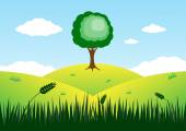 Tree on top of mountain vector background