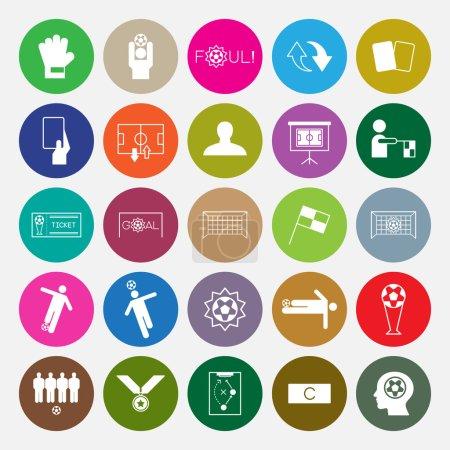 Soccer icons set circle vector illustration