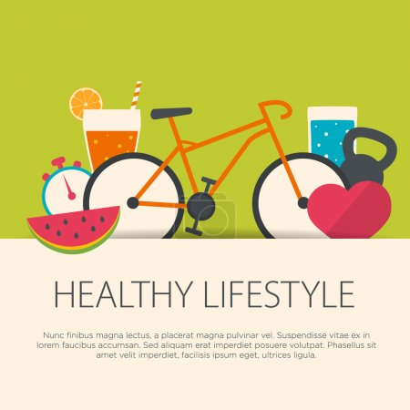 Illustration for Healthy lifestyle concept in flat design. Vector illustration. - Royalty Free Image