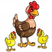 Hen & chicks Cartoon