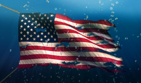 Photo pour Amérique USA national de drapeau de mer eau déchiré bulle 3d - image libre de droit