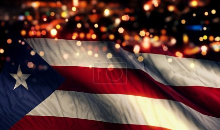 Puerto Rico National Flag Light Night Bokeh Abstract Background