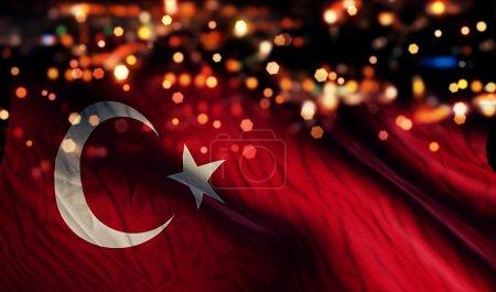 Turkey National Flag Light Night Bokeh Abstract Background