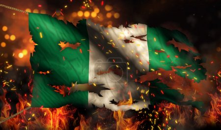 Photo pour Nigeria combustion feu indicateur guerre conflit nuit 3d - image libre de droit