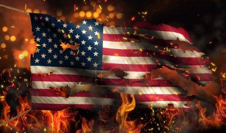 Photo pour Etats-Unis Amérique brûlant feu drapeau guerre conflit Nuit 3D - image libre de droit