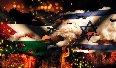 Photo pour Internationale de feu de déchiré par la guerre du drapeau Israël Palestine conflit 3d - image libre de droit