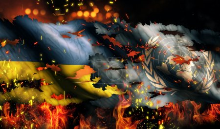 Ukraine UN Flag War Torn Fire International Conflict 3D