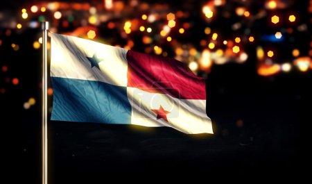 Panama National Flag City Light Night Bokeh Background 3D