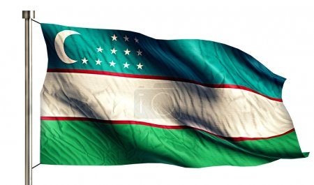 Uzbekistan National Flag Isolated 3D White Background